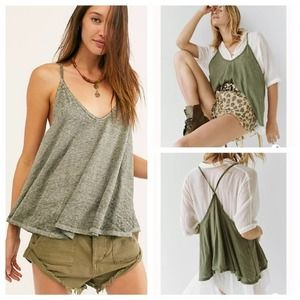 FREE PEOPLE Sandy Racer Tank Top NWOT Moss Small